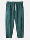 Mens 100% Cotton Breathable Drawstring Elastic Waist Sport Jogger Pants - Green