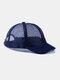 ユニセックスメッシュ通気性調節可能なショートカーブ野球帽 - 青