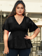 Solid Color V-neck Plus Size Casual Blouse for Women - Black