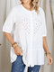 Floral Embroidery Half Sleeve Button O-neck Loose Blouse - White