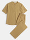 Cotton Linen Breathable Stand Collar Mid Sleeve & Pants Loungewear Sets With Chest Pocket - Khaki