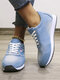 Plus Size Women Soft Comfortable Running Shoes Denim Cloth Lace-up Sneakers - Light-blue