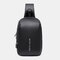Men Oxford USB Charging Multi-Layers Large Capacity Waterproof Crossbody Bag Chest Bag Sling Bag - Black