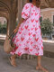 Heart Print Puff Short Sleeve Loose Midi Dress - Pink