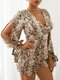 Snake Cobra Print Knotted Slit Cuff Long Sleeve V-Neck Sexy Romper - Brown