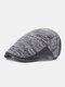 पुरुषों बुना हुआ चिथड़े कंट्रास्ट रंग आउटडोर अवकाश विंटेज जंगली आगे टोपी फ्लैट टोपी - काली