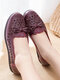 Women Daily Bow Hollow Out Slip On Flats - Purple