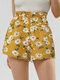 Bohemia Sunflower Print Short For Women - Yellow