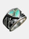 Vintage Turquoise Women Ring Triangle Colored Oil Painting Leaf Ring Jewelry Gift - Silver
