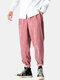 Mens Corduroy Cotton Solid Loose Zipper Fly Pants With Pocket - Pink