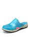 SOCOFY Closed Toe Elastic Slip On Stitching Flat Clogs Comfy Breathable Wearable Backless Floral Decor Hollow Out Solid Color Mules Sandals - Blue