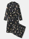 Mens Feather Print Belted Faux Silk Comfy Robes Loungewear Sets - Black