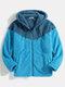 Mens Contrast Patchwork Zip Up Plush Slant Pocket Hooded Jackets - Blue