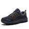 Men Non Slip Hard Wearing Lace-up Soft Hiking Outdoor Shoes - Gray