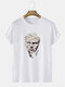 Mens Funny Figure Statue Graphic Street Short Sleeve T-Shirts - White