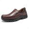 Menico Mens Slip On Business Casual Leather Shoes - Dark brown