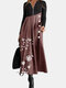 Calico Printed Long Sleeve V-neck Patchwork Dress For Women - Wine Red