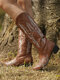 Plus Size Women Retro Pointed Toe Embroidered Chunky Heel Cowboy Boots - Brown