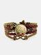 ヴィンテージレッドフローラルドッグテールグラスパターンプリントバタフライブレイドジェムストーンマルチレイヤーブレスレット - 褐色