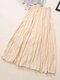 Casual Solid Color Pleated High Elastic Waist A-Line Midi Dress - Apricot