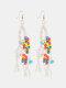 Bohemia Handmade Woven Women Earrings Pearl Turquoise Tassel Pendant Earrings - Beige