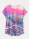 Oil Painting Cities Print O-neck Short Sleeve Casual T-shirt for Women - Rose
