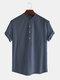 Men Cotton Linen Retro Solid Casual Henley Shirt - Navy