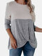 Contrast Patchwork Knotted O-neck Long Sleeve T-shirt - Gray