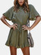 Solid Color Ruffled Short Sleeves Casual Jumpsuit For Women - Army