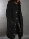 Women Solid Color Knitted Button Hooded Casual Cardigan With Pocket - Black