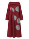 PolkaDots Print Patchwork Half-collar Casual Dresses for Women - Wine Red