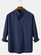 Mens Solid Color Cotton Breathable Casual Long Sleeve Henley Shirts - Blue