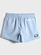 Mens Solid Color Applique Quick Dry Drawstring Swim Trunks With Zip Front Pocket - Blue