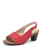 Women Large Size Casual Brief Sandals Comfortable Slingback Peep Toe Heels - Red