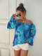 Tie-Dye Floral Print Ruffled Sleeves Off Shoulder Casual Blouse For Women - Blue