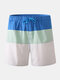 Mens Color Block White Beach Board Shorts Drawstring Quick Dry Mesh Liner With Pocket - Sky Blue