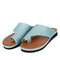 Large Size Women Casual Breathable Hollow Flat Thumbs Sandals - Light Blue 1