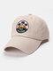 Unisex Cotton Embroidery Pattern Curve Brim Sunshade Fashion Baseball Hat - Beige