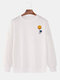 Mens Solid Color Cartoon Print Loose Pullover Sweatshirt - White