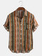 Mens Casual Cotton Striped Patch Pocket Short Sleeve Shirts - Green