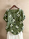 Floral Printed O-Neck Short Sleeve Cotton T-shirt - Green