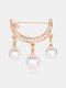 Elegant Geometry Hollow Rhinestone Pearl Tassel Women Brooch Anti Slip Sweater Cardigan Pins - Gold
