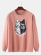 Mens Cartoon Wolf Chest Print Solid Daily Loose Fit Pullover Sweatshirts - Pink