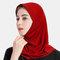 Muslim Hijab Scarf Women Solid Crystal Hemp  - Red