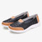 Women Hollow Leather Slip On Solid color Soft Sole Flats Shoes - Black