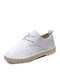 Women Solid Color Stitching Non Slip Soft Comfy Lace Up Casual Flat Shoes - White