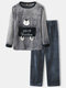Mens Flannel Cartoon Bear Letter Pattern Round Neck Thick Home Pajamas Sets - Gray