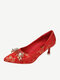 Women Festive Elegant Rhinestones Pointed Toe Stiletto Heel Wedding Party Shoes - Red Double Happiness Button