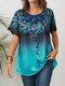 Inkjet Ethnic Gradient Print Button Front Plus Size T-shirt - Light Blue