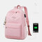 Student USB Charging Solid School Bookbag 15.6'' Laptop Backpack  - Pink